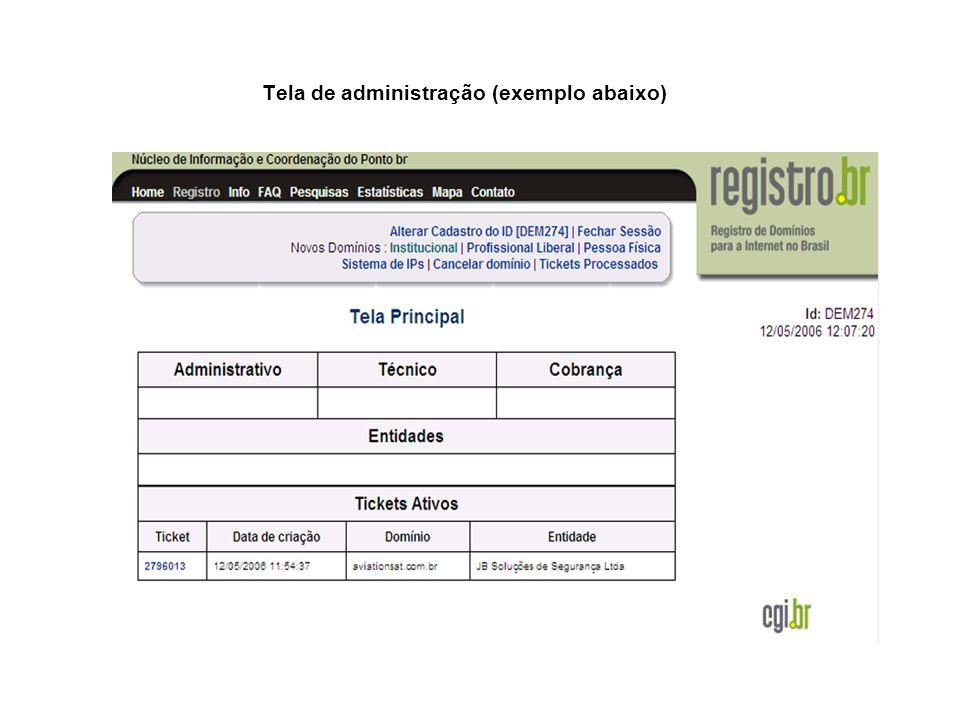Tela de administração (exemplo abaixo)