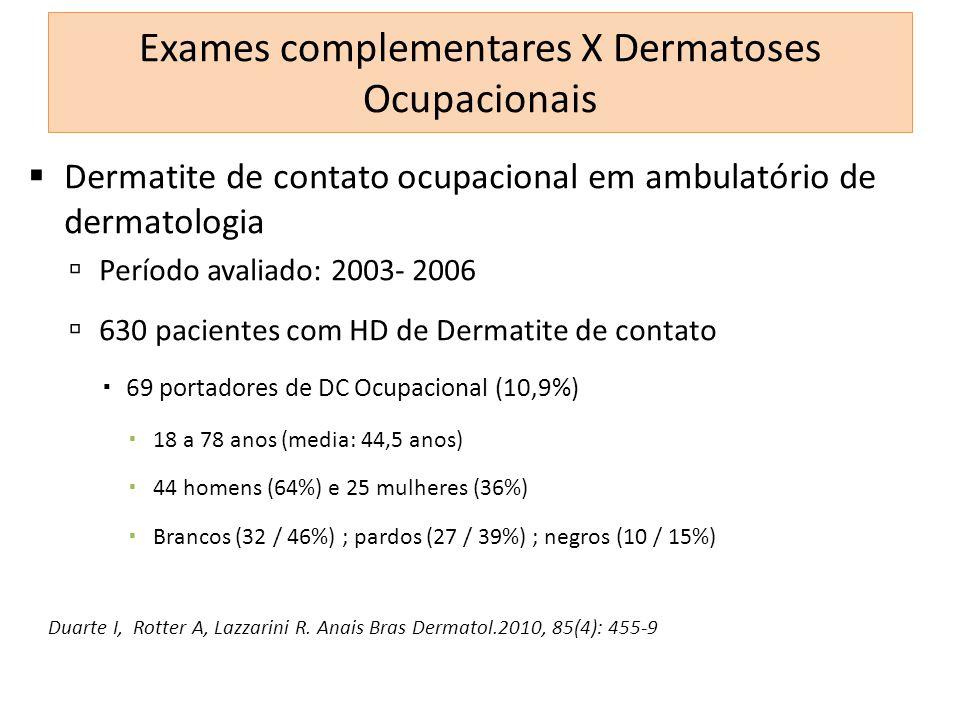 Dermatite de contato ocupacional em ambulatório de dermatologia Período avaliado: 2003- 2006 630 pacientes com HD de Dermatite de contato 69 portadore