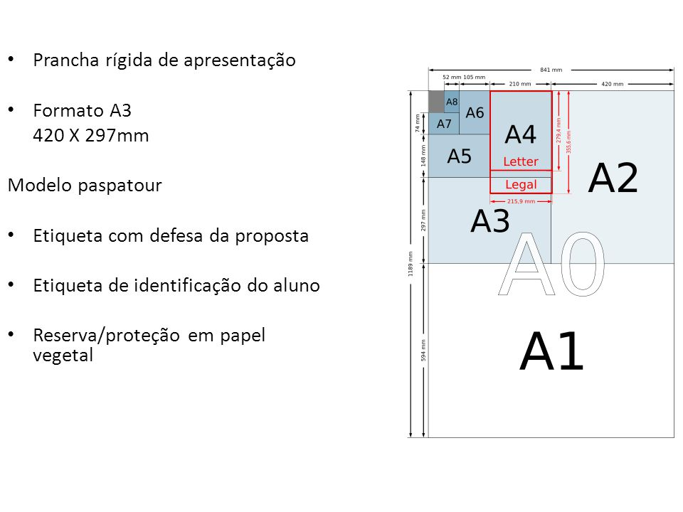 Prancha rígida de apresentação Formato A3 420 X 297mm Modelo paspatour Etiqueta com defesa da proposta Etiqueta de identificação do aluno Reserva/prot