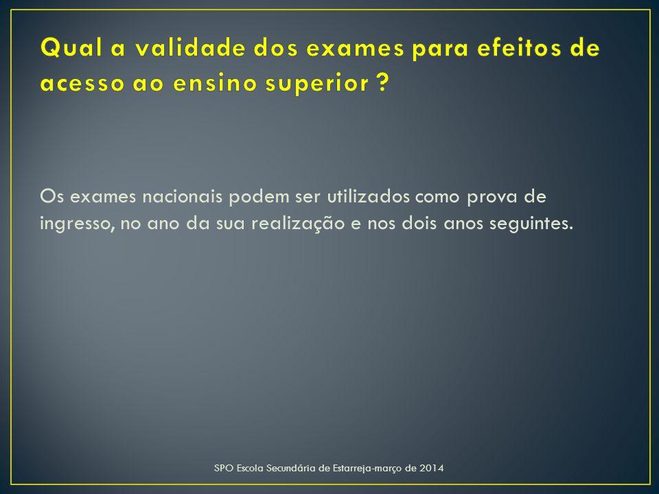 Os exames nacionais podem ser utilizados como prova de ingresso, no ano da sua realização e nos dois anos seguintes.