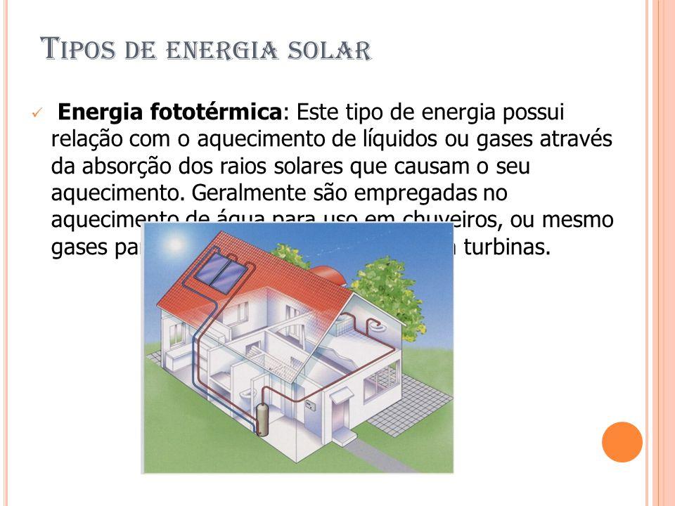 T IPOS DE ENERGIA SOLAR Energia fototérmica: Este tipo de energia possui relação com o aquecimento de líquidos ou gases através da absorção dos raios solares que causam o seu aquecimento.