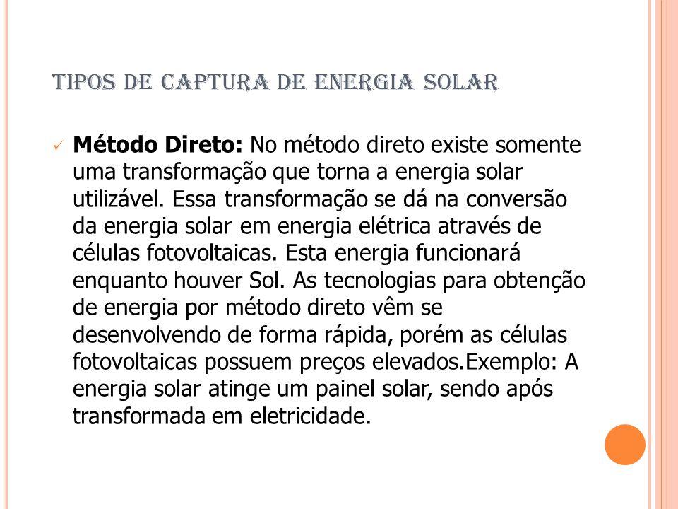 TIPOS DE CAPTURA DE ENERGIA SOLAR Método Direto: No método direto existe somente uma transformação que torna a energia solar utilizável.