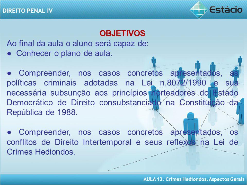 AULA 13.Crimes Hediondos. Aspectos Gerais DIREITO PENAL IV ESTRUTURA DE CONTEÚDO.
