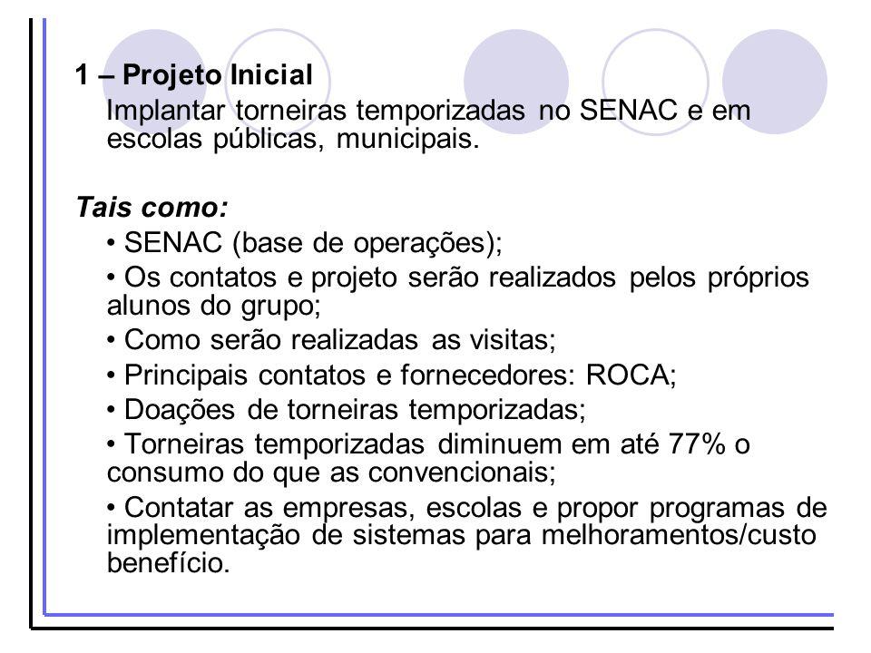 1 – Projeto Inicial Implantar torneiras temporizadas no SENAC e em escolas públicas, municipais. Tais como: SENAC (base de operações); Os contatos e p