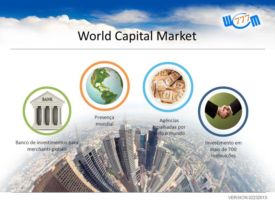 World Capital Market VERSION 02232013 Investimento em mais de 700 Instituições Agências espalhadas por todo o mundo Presença mundial Banco de investimentos para merchants globais