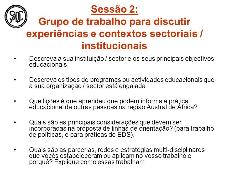 Sessão 2: Grupo de trabalho para discutir experiências e contextos sectoriais / institucionais Descreva a sua instituição / sector e os seus principai