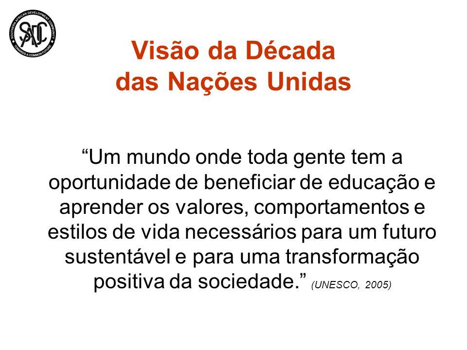 Visão da Década das Nações Unidas Um mundo onde toda gente tem a oportunidade de beneficiar de educação e aprender os valores, comportamentos e estilo