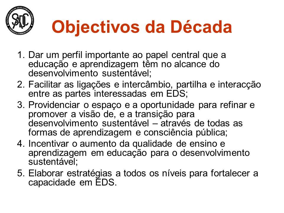 Objectivos da Década 1.Dar um perfil importante ao papel central que a educação e aprendizagem têm no alcance do desenvolvimento sustentável; 2.Facili