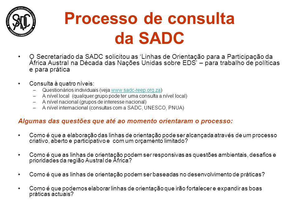 Processo de consulta da SADC O Secretariado da SADC solicitou as Linhas de Orientação para a Participação da África Austral na Década das Nações Unida