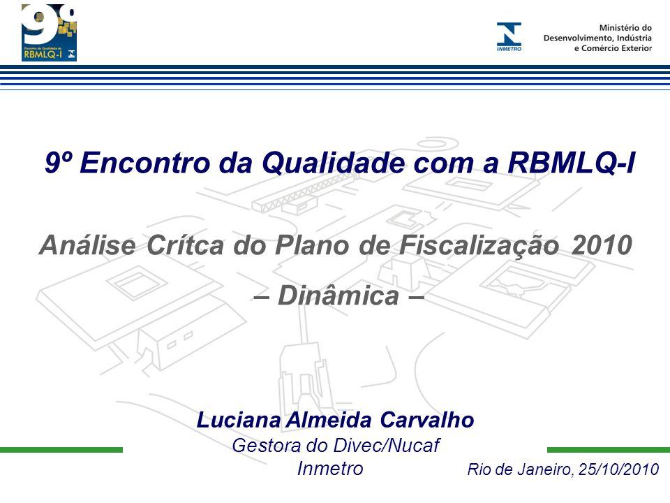 9º Encontro da Qualidade com a RBMLQ-I Luciana Almeida Carvalho Gestora do Divec/Nucaf Inmetro Rio de Janeiro, 25/10/2010 Análise Crítca do Plano de Fiscalização 2010 – Dinâmica –