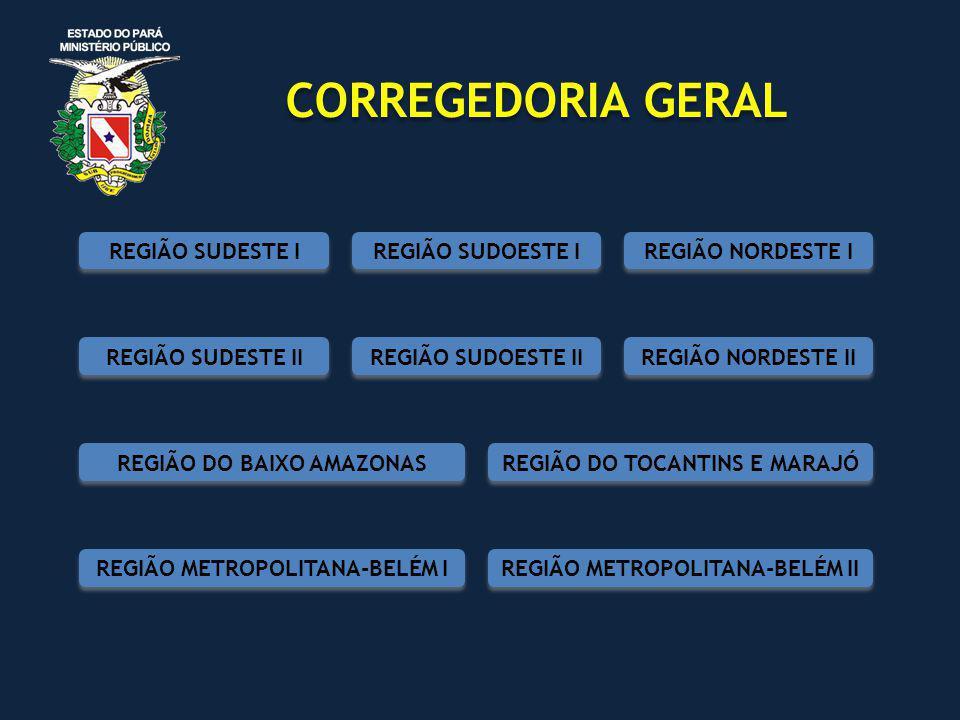 CORREGEDORIA GERAL REGIÃO NORDESTE I REGIÃO SUDOESTE I REGIÃO SUDOESTE II REGIÃO NORDESTE II REGIÃO SUDESTE I REGIÃO SUDESTE II REGIÃO DO BAIXO AMAZONAS REGIÃO DO TOCANTINS E MARAJÓ REGIÃO METROPOLITANA-BELÉM I REGIÃO METROPOLITANA-BELÉM II