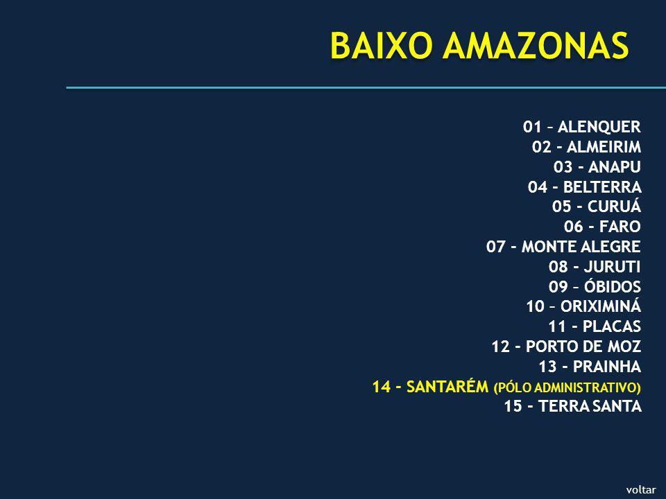 01 – ALENQUER 02 - ALMEIRIM 03 - ANAPU 04 - BELTERRA 05 - CURUÁ 06 - FARO 07 - MONTE ALEGRE 08 - JURUTI 09 – ÓBIDOS 10 – ORIXIMINÁ 11 - PLACAS 12 - PORTO DE MOZ 13 - PRAINHA 14 - SANTARÉM (PÓLO ADMINISTRATIVO) 15 - TERRA SANTA BAIXO AMAZONAS voltar