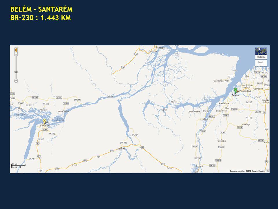 BELÉM – SANTARÉM BR-230 : 1.443 KM