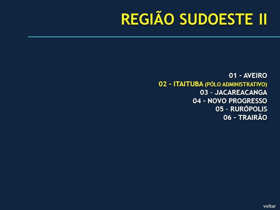 01 - AVEIRO 02 - ITAITUBA (PÓLO ADMINISTRATIVO) 03 – JACAREACANGA 04 - NOVO PROGRESSO 05 – RURÓPOLIS 06 - TRAIRÃO 01 - AVEIRO 02 - ITAITUBA (PÓLO ADMINISTRATIVO) 03 – JACAREACANGA 04 - NOVO PROGRESSO 05 – RURÓPOLIS 06 - TRAIRÃO REGIÃO SUDOESTE II voltar