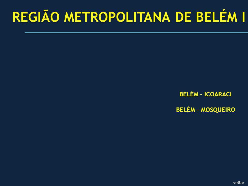 voltar REGIÃO METROPOLITANA DE BELÉM I BELÉM – ICOARACI BELÉM – MOSQUEIRO