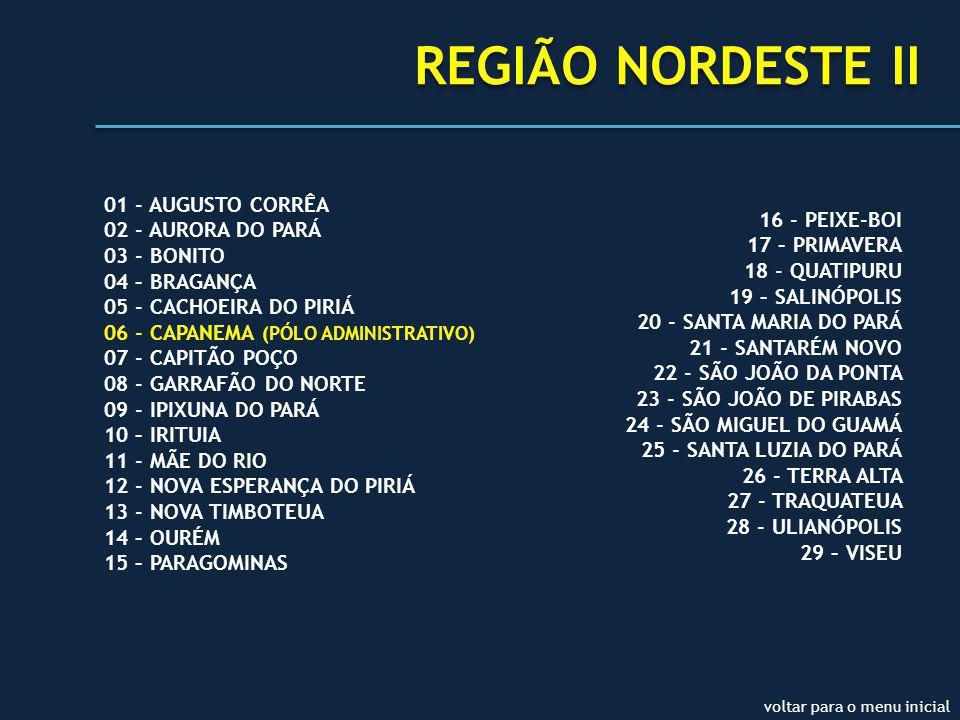 REGIÃO NORDESTE II 01 - AUGUSTO CORRÊA 02 - AURORA DO PARÁ 03 - BONITO 04 – BRAGANÇA 05 - CACHOEIRA DO PIRIÁ 06 - CAPANEMA (PÓLO ADMINISTRATIVO) 07 - CAPITÃO POÇO 08 - GARRAFÃO DO NORTE 09 - IPIXUNA DO PARÁ 10 – IRITUIA 11 - MÃE DO RIO 12 - NOVA ESPERANÇA DO PIRIÁ 13 - NOVA TIMBOTEUA 14 – OURÉM 15 – PARAGOMINAS 16 - PEIXE-BOI 17 – PRIMAVERA 18 - QUATIPURU 19 – SALINÓPOLIS 20 - SANTA MARIA DO PARÁ 21 - SANTARÉM NOVO 22 - SÃO JOÃO DA PONTA 23 - SÃO JOÃO DE PIRABAS 24 - SÃO MIGUEL DO GUAMÁ 25 - SANTA LUZIA DO PARÁ 26 - TERRA ALTA 27 - TRAQUATEUA 28 - ULIANÓPOLIS 29 – VISEU voltar para o menu inicial
