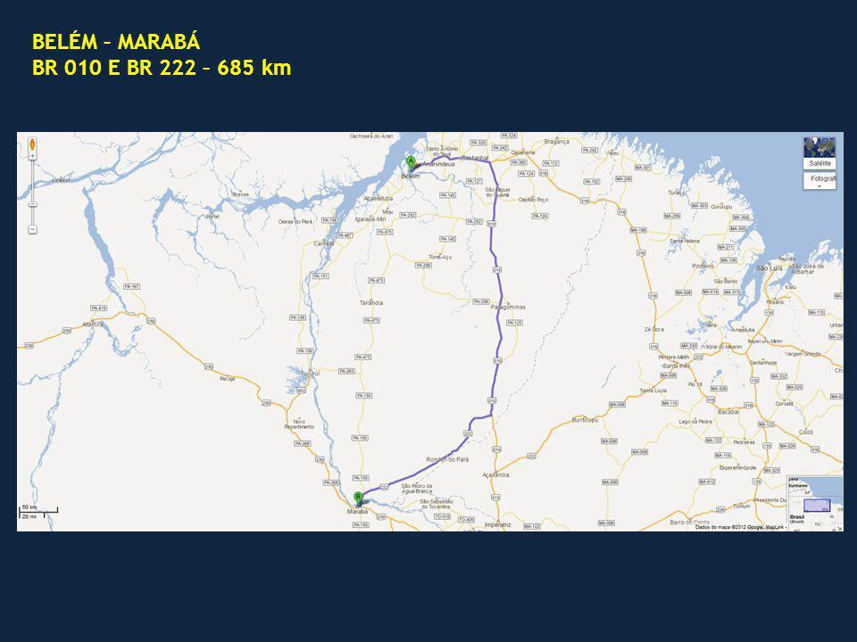 BELÉM – MARABÁ BR 010 E BR 222 – 685 km