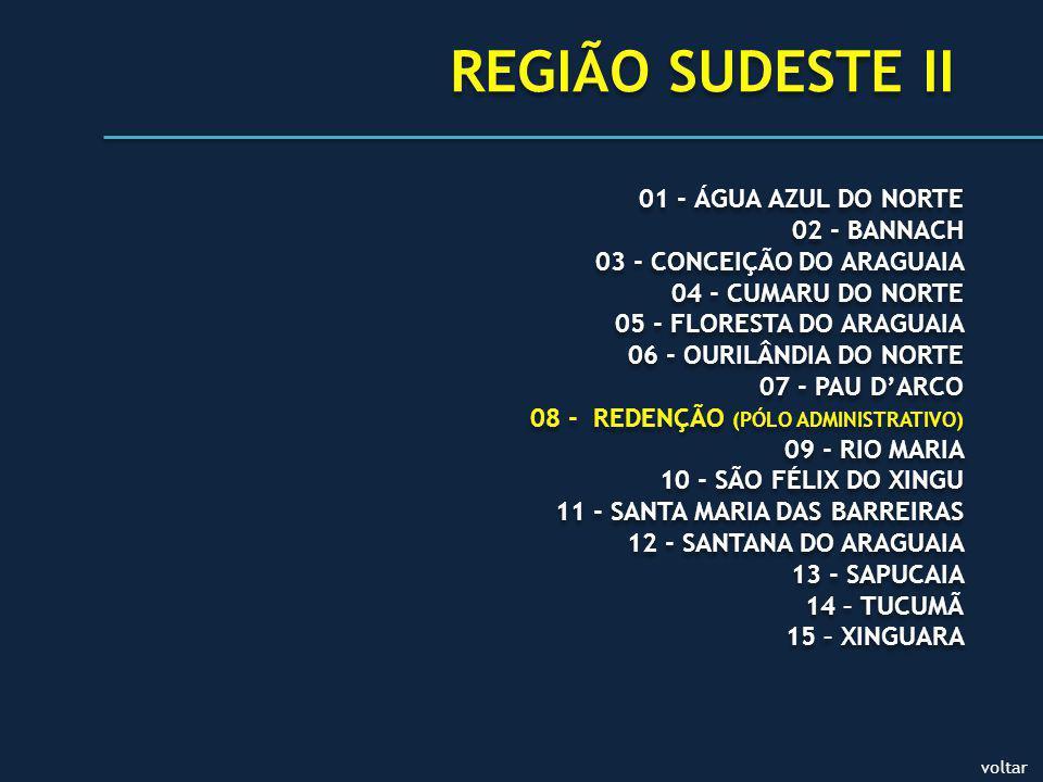 voltar REGIÃO SUDESTE II 01 - ÁGUA AZUL DO NORTE 02 - BANNACH 03 - CONCEIÇÃO DO ARAGUAIA 04 - CUMARU DO NORTE 05 - FLORESTA DO ARAGUAIA 06 - OURILÂNDIA DO NORTE 07 - PAU DARCO 08 - REDENÇÃO (PÓLO ADMINISTRATIVO) 09 - RIO MARIA 10 - SÃO FÉLIX DO XINGU 11 - SANTA MARIA DAS BARREIRAS 12 - SANTANA DO ARAGUAIA 13 - SAPUCAIA 14 – TUCUMÃ 15 – XINGUARA 01 - ÁGUA AZUL DO NORTE 02 - BANNACH 03 - CONCEIÇÃO DO ARAGUAIA 04 - CUMARU DO NORTE 05 - FLORESTA DO ARAGUAIA 06 - OURILÂNDIA DO NORTE 07 - PAU DARCO 08 - REDENÇÃO (PÓLO ADMINISTRATIVO) 09 - RIO MARIA 10 - SÃO FÉLIX DO XINGU 11 - SANTA MARIA DAS BARREIRAS 12 - SANTANA DO ARAGUAIA 13 - SAPUCAIA 14 – TUCUMÃ 15 – XINGUARA