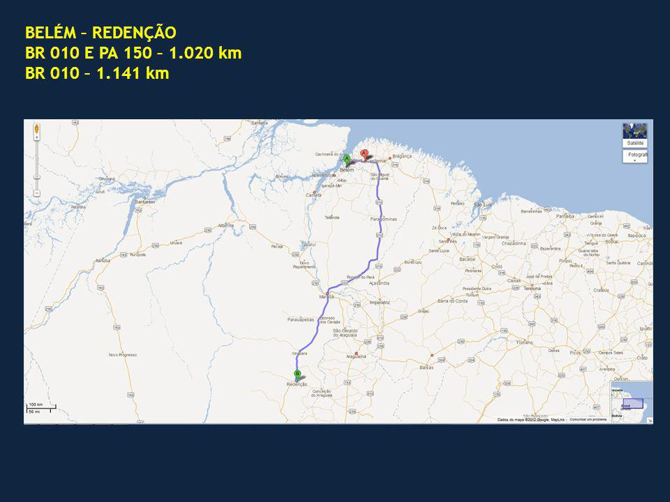 BELÉM – REDENÇÃO BR 010 E PA 150 – 1.020 km BR 010 – 1.141 km