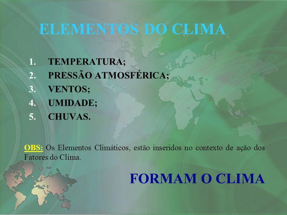 1.TEMPERATURA; 2.PRESSÃO ATMOSFÉRICA; 3.VENTOS; 4.UMIDADE; 5.CHUVAS. ELEMENTOS DO CLIMA OBS: Os Elementos Climáticos, estão inseridos no contexto de a