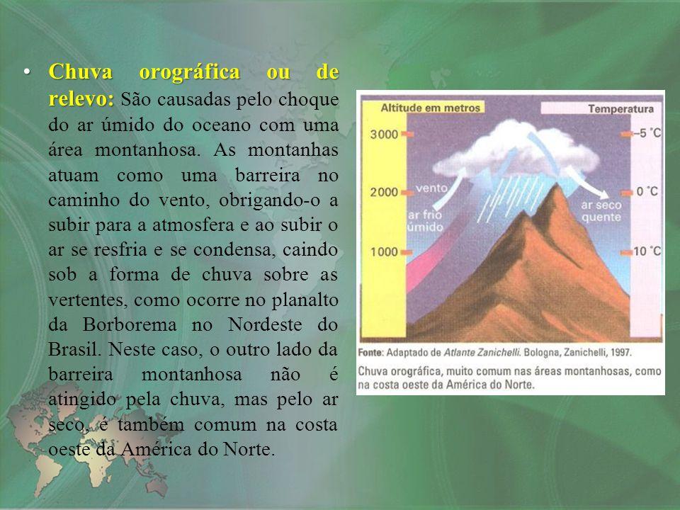 Chuva orográfica ou de relevo:Chuva orográfica ou de relevo: São causadas pelo choque do ar úmido do oceano com uma área montanhosa. As montanhas atua