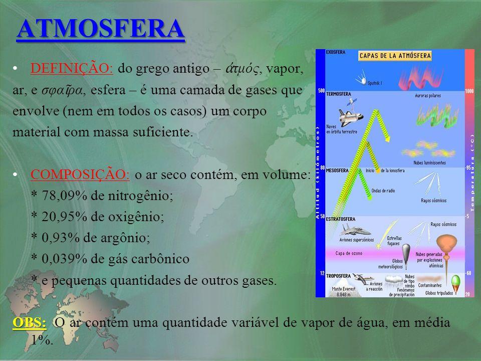 CAMADAS:CAMADAS: EXOSFERA: –A partir dos +/- 700 Km de altura; –Composição: hélio e hidrogênio; –Espaço sideral; –Altas temperaturas: mais de 1000°C.