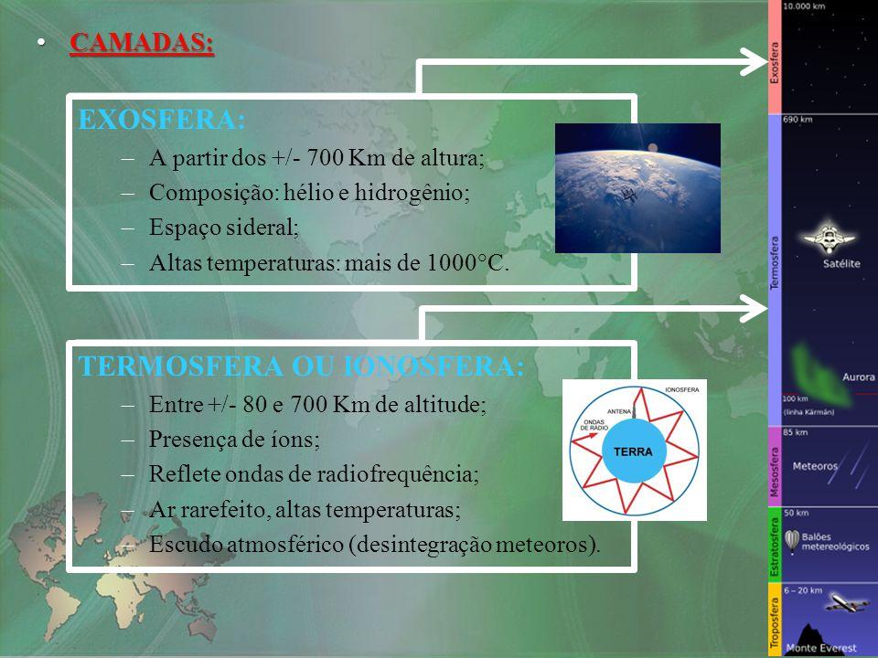 MESOSFERA: –Entre +/- 50 e 80 Km de altitude; –Fim da Camada de Ozônio (O 3 ).