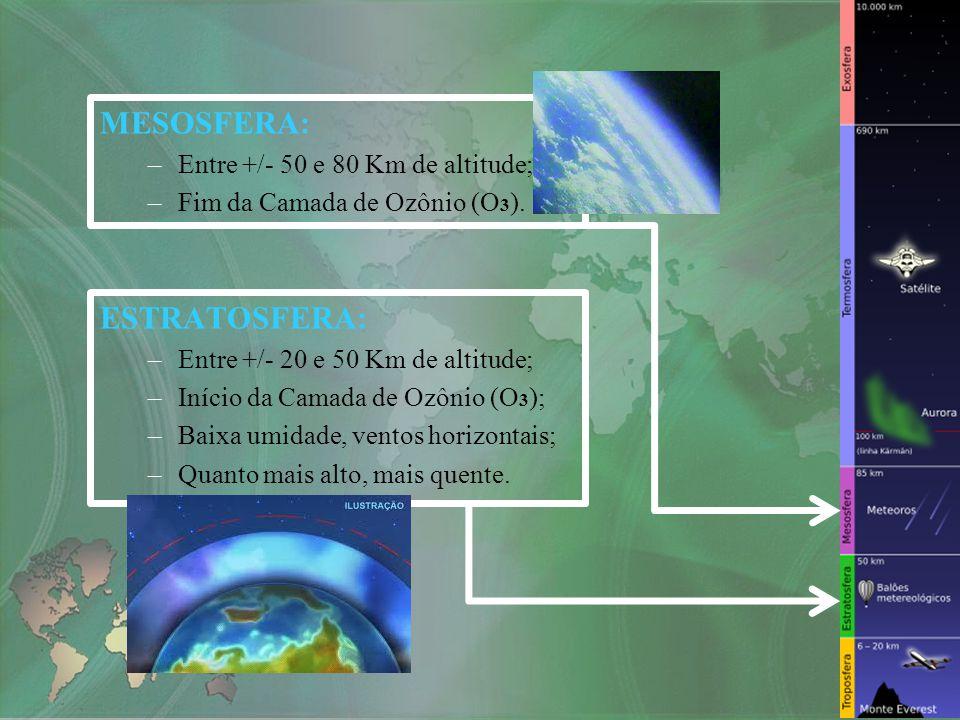MESOSFERA: –Entre +/- 50 e 80 Km de altitude; –Fim da Camada de Ozônio (O 3 ). ESTRATOSFERA: –Entre +/- 20 e 50 Km de altitude; –Início da Camada de O