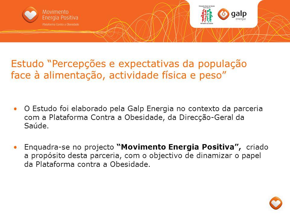 O Estudo foi elaborado pela Galp Energia no contexto da parceria com a Plataforma Contra a Obesidade, da Direcção-Geral da Saúde. Enquadra-se no proje