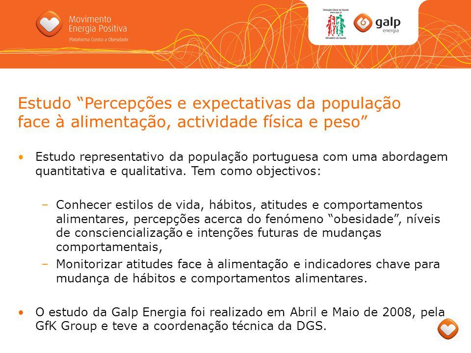 Estudo Percepções e expectativas da população face à alimentação, actividade física e peso Estudo representativo da população portuguesa com uma abord