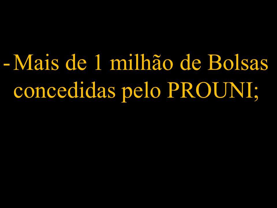 -Mais de 1 milhão de Bolsas concedidas pelo PROUNI;