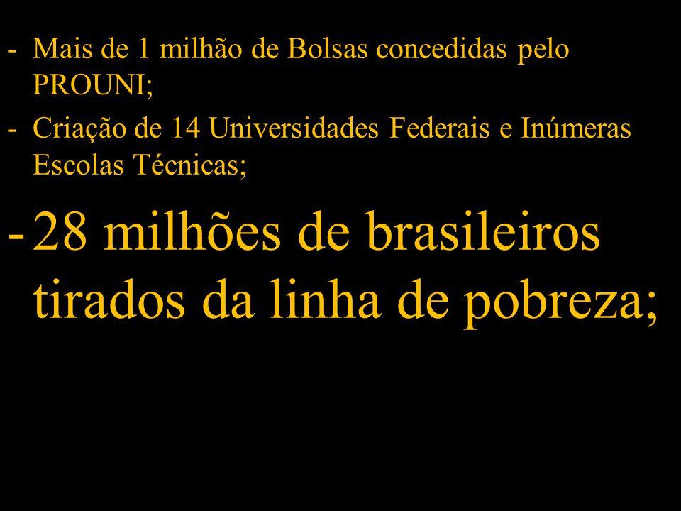 -Mais de 1 milhão de Bolsas concedidas pelo PROUNI; -Criação de 14 Universidades Federais e Inúmeras Escolas Técnicas; -28 milhões de brasileiros tirados da linha de pobreza;