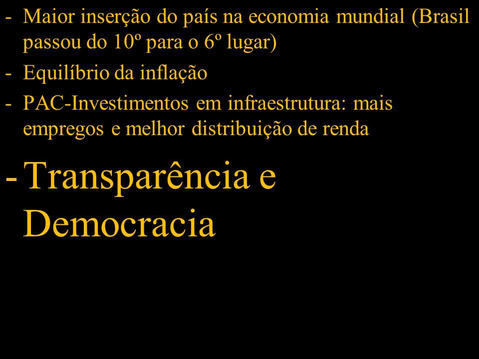 -Maior inserção do país na economia mundial (Brasil passou do 10º para o 6º lugar) -Equilíbrio da inflação -PAC-Investimentos em infraestrutura: mais empregos e melhor distribuição de renda -Transparência e Democracia