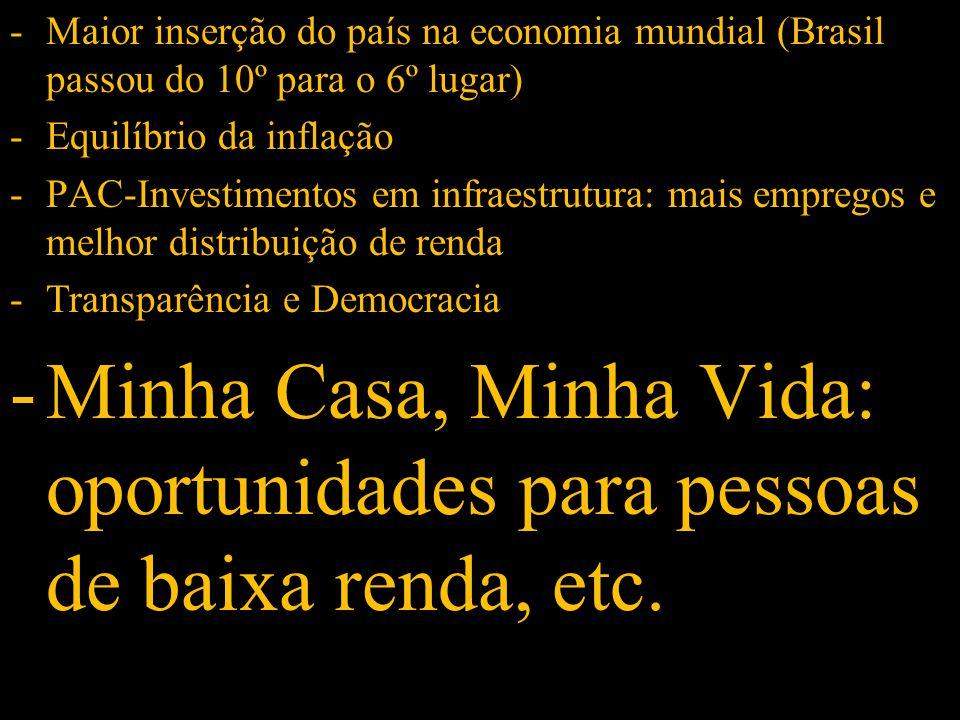 -Maior inserção do país na economia mundial (Brasil passou do 10º para o 6º lugar) -Equilíbrio da inflação -PAC-Investimentos em infraestrutura: mais empregos e melhor distribuição de renda -Transparência e Democracia -Minha Casa, Minha Vida: oportunidades para pessoas de baixa renda, etc.
