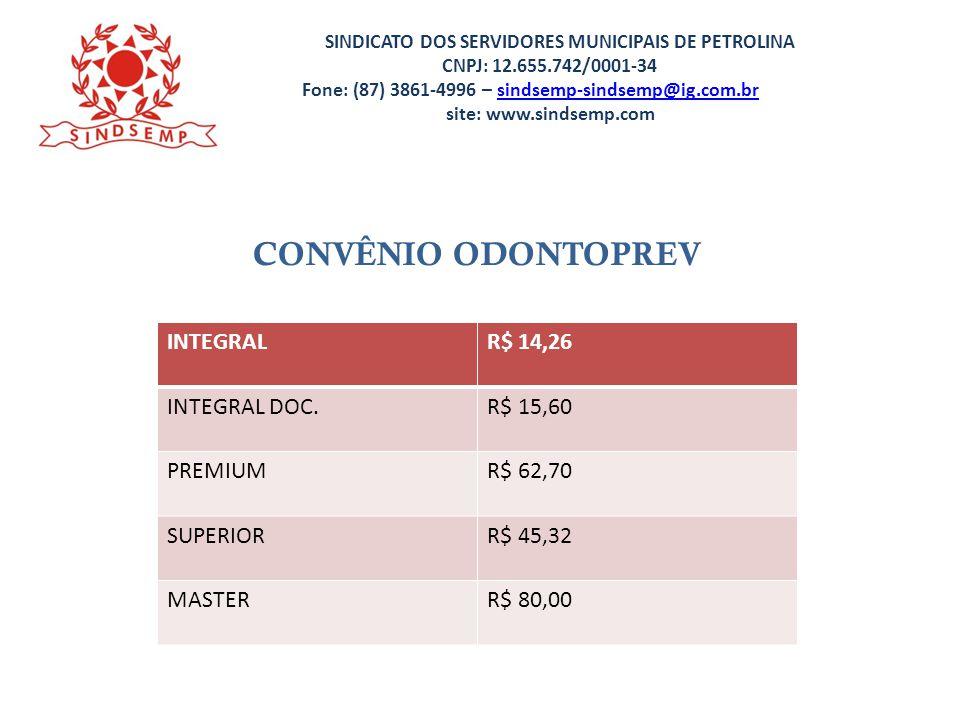 SINDICATO DOS SERVIDORES MUNICIPAIS DE PETROLINA CNPJ: 12.655.742/0001-34 Fone: (87) 3861-4996 – sindsemp-sindsemp@ig.com.br site: www.sindsemp.comsindsemp-sindsemp@ig.com.br CONVÊNIO ODONTO PERSONALITE ODONTO PERSONALITE R$ 13,50 MASTER GOLDR$ 74,90