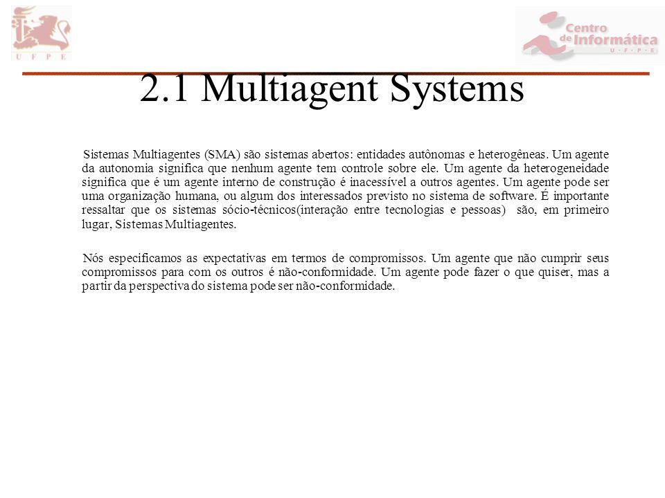 2.1 Multiagent Systems Sistemas Multiagentes (SMA) são sistemas abertos: entidades autônomas e heterogêneas.