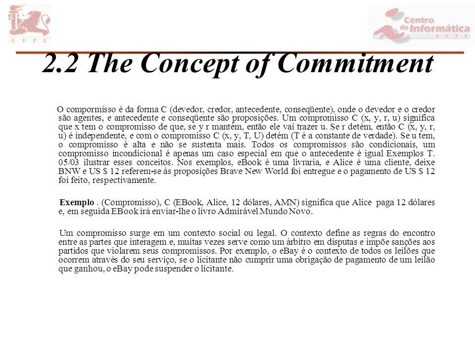 2.2 The Concept of Commitment O compormisso é da forma C (devedor, credor, antecedente, conseqüente), onde o devedor e o credor são agentes, e antecedente e conseqüente são proposições.