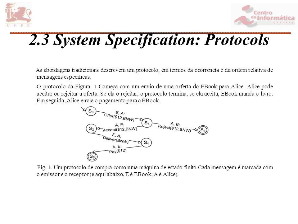 2.3 System Specification: Protocols As abordagens tradicionais descrevem um protocolo, em termos da ocorrência e da ordem relativa de mensagens específicas.