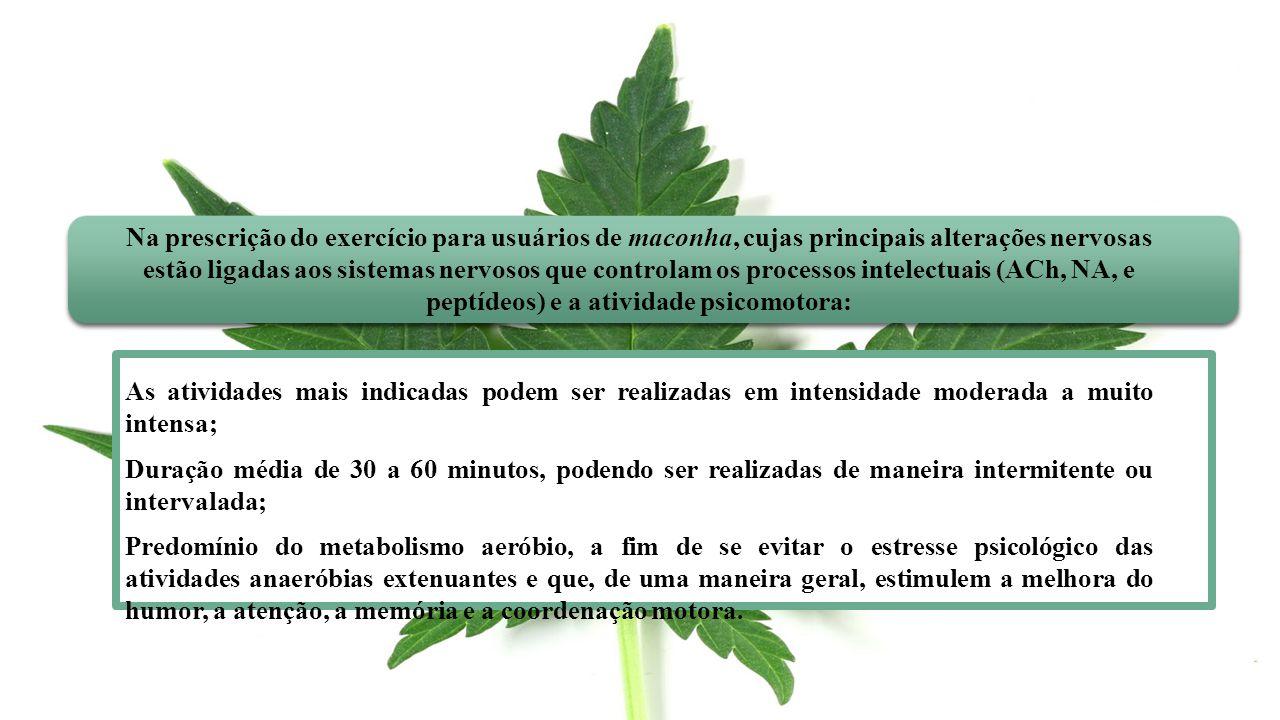 Na prescrição do exercício para usuários de maconha, cujas principais alterações nervosas estão ligadas aos sistemas nervosos que controlam os process