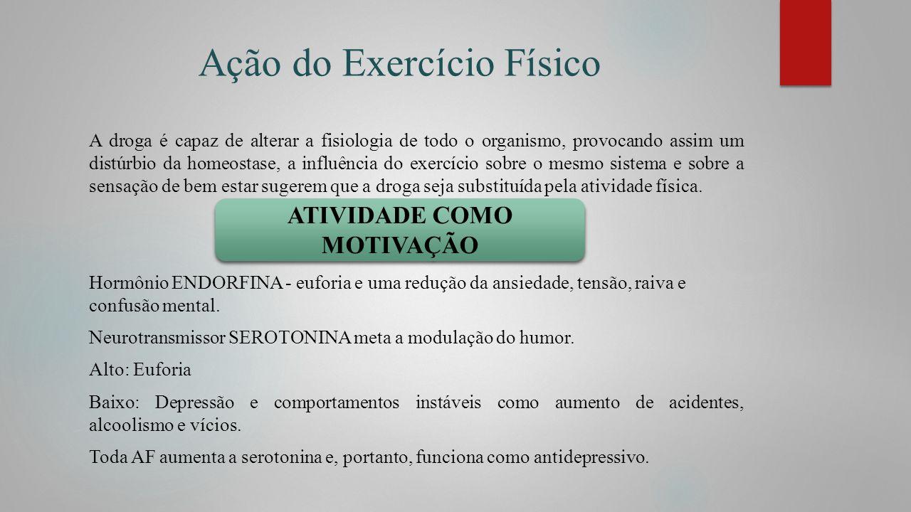 Ação do Exercício Físico A droga é capaz de alterar a fisiologia de todo o organismo, provocando assim um distúrbio da homeostase, a influência do exe