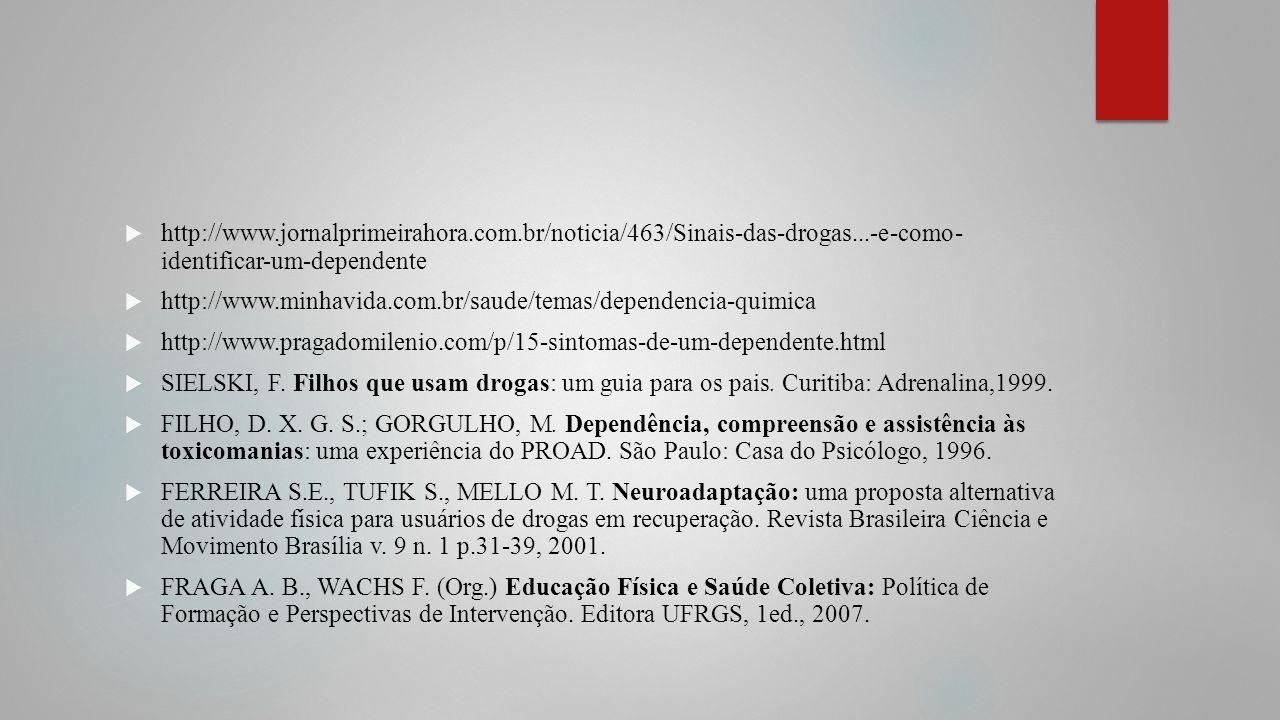 http://www.jornalprimeirahora.com.br/noticia/463/Sinais-das-drogas...-e-como- identificar-um-dependente http://www.minhavida.com.br/saude/temas/depend