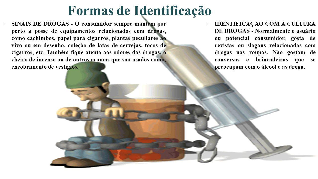 Formas de Identificação SINAIS DE DROGAS - O consumidor sempre mantém por perto a posse de equipamentos relacionados com drogas, como cachimbos, papel