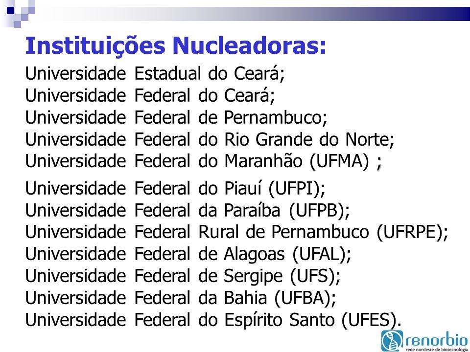 Instituições Nucleadoras: ; Universidade Estadual do Ceará; Universidade Federal do Ceará; Universidade Federal de Pernambuco; Universidade Federal do