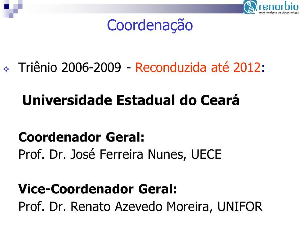 Coordenação Triênio 2006-2009 - Reconduzida até 2012: Universidade Estadual do Ceará Coordenador Geral: Prof. Dr. José Ferreira Nunes, UECE Vice-Coord