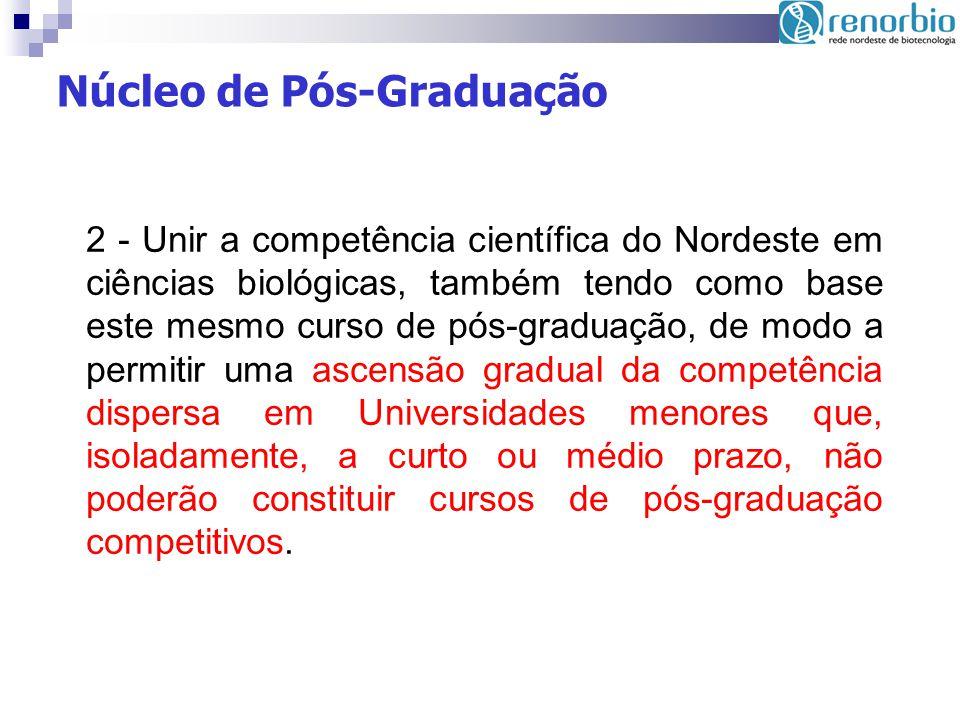 2 - Unir a competência científica do Nordeste em ciências biológicas, também tendo como base este mesmo curso de pós-graduação, de modo a permitir uma