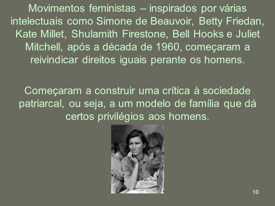 10 Começaram a construir uma crítica à sociedade patriarcal, ou seja, a um modelo de família que dá certos privilégios aos homens. Movimentos feminist