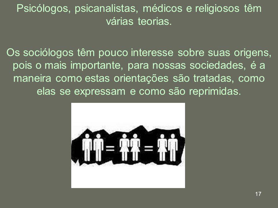 17 Psicólogos, psicanalistas, médicos e religiosos têm várias teorias. Os sociólogos têm pouco interesse sobre suas origens, pois o mais importante, p