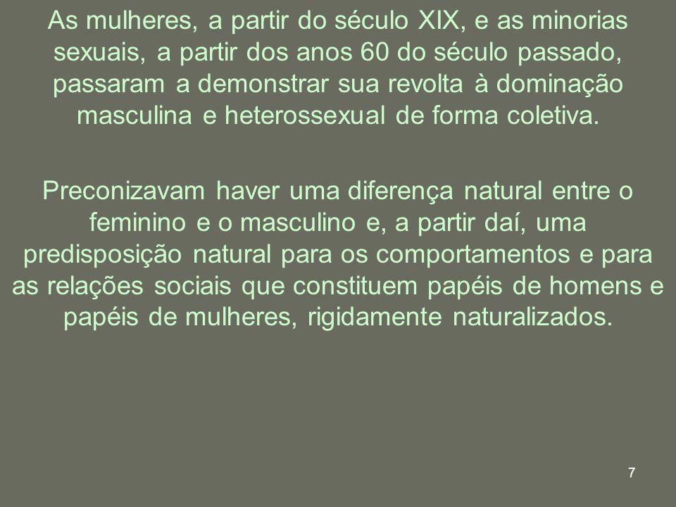 7 As mulheres, a partir do século XIX, e as minorias sexuais, a partir dos anos 60 do século passado, passaram a demonstrar sua revolta à dominação ma