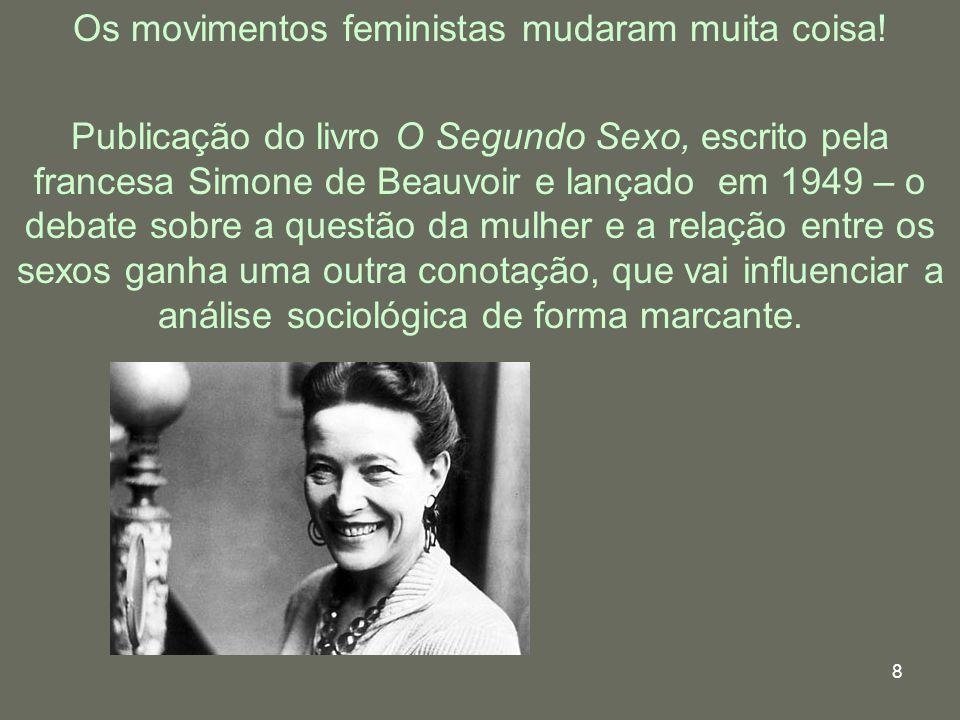 8 Os movimentos feministas mudaram muita coisa! Publicação do livro O Segundo Sexo, escrito pela francesa Simone de Beauvoir e lançado em 1949 – o deb