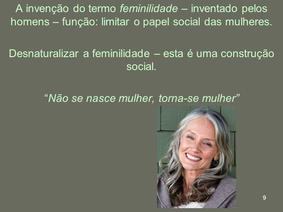 9 A invenção do termo feminilidade – inventado pelos homens – função: limitar o papel social das mulheres. Desnaturalizar a feminilidade – esta é uma